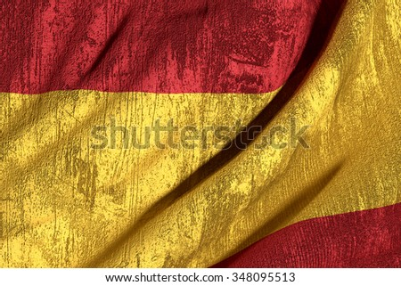 3d rendering of an old and dirty Spain flag - stock photo