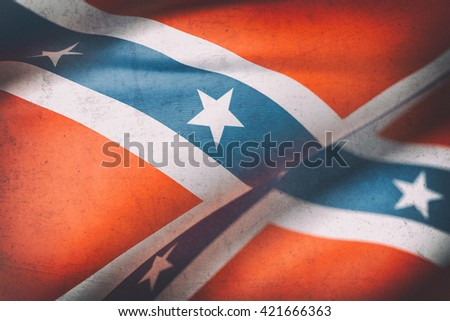 3d rendering of an old confederate flag - stock photo