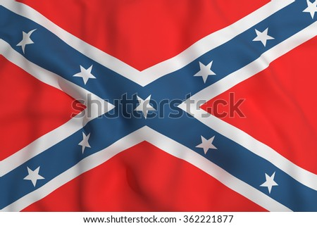 3d rendering of an old confederate flag waving - stock photo