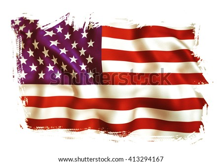 3d rendering of an old  Usa flag waving - stock photo