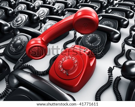 3d rendering of an old vintage rotary phone in red surrounded by black phones - stock photo