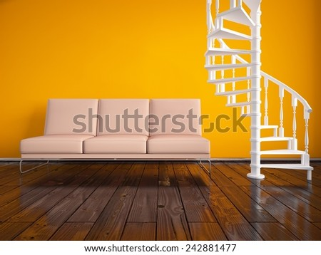 3D rendering of an orange interior with a beige sofa  - stock photo