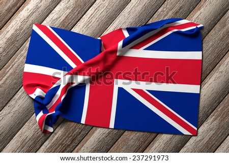 3d rendering of an united kingdom flag on a wooden background - stock photo