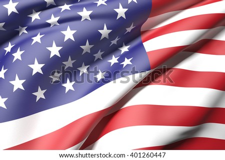 3d rendering of an united states flag waving - stock photo