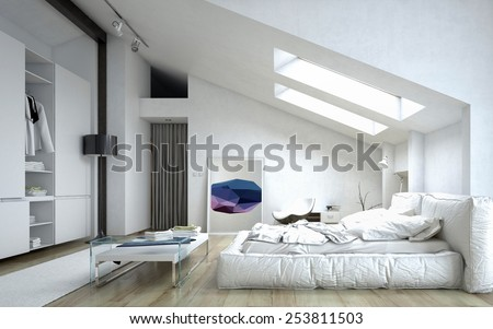 3D Rendering of Architectural Bedroom with Table and Cabinet Inside a White Modern House - stock photo