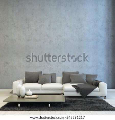 3D Rendering of Architectural Living Room Design, Styled with Off White Couch, Paired with Gray Pillows and Carpet, and Short Gray Table. - stock photo
