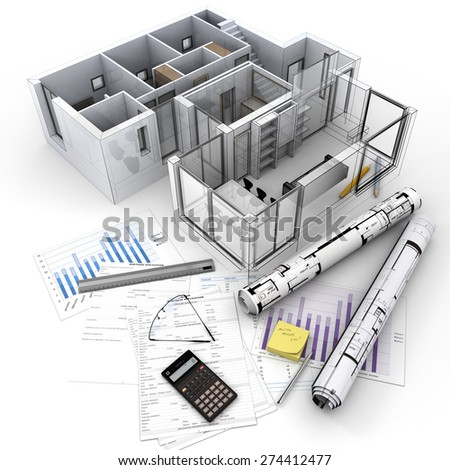 3D rendering of Architecture model on top of a table with mortgage application form, calculator, blueprints, etc..  - stock photo