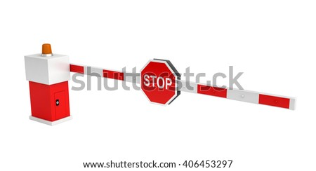 3d rendering of barrier with stop sign isolated over white background - stock photo