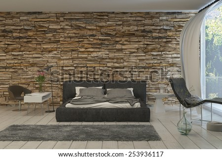 3d Rendering of Bed in Modern Bedroom with Airy Balcony and Exposed Brick Wall - stock photo