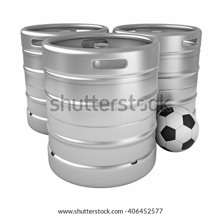 3d rendering of beer kegs and soccer ball isolated over white background - stock photo