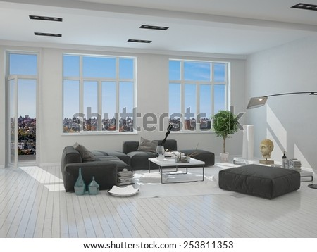 3D Rendering of Black and Gray Furniture in an Elegant Living Room Inside an Architectural White House - stock photo