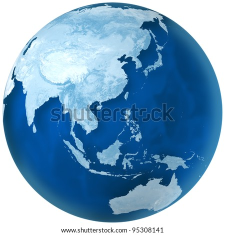 3D rendering of blue earth with detailed land illustration.  Asia and Australia view. - stock photo