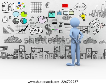 3d rendering of blue man looking at business drawing sketch drawing on the wall. 3d white people character - stock photo