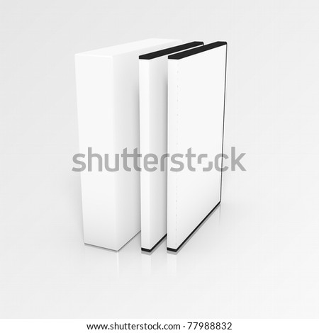 3d rendering of box with two software boxes - stock photo