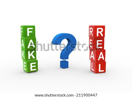 3d rendering of boxes of fake and real with large question mark symbol - stock photo