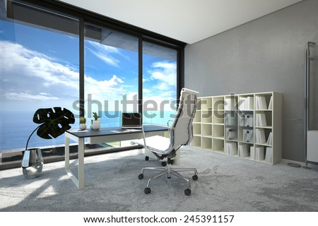 3D Rendering of Bright modern spacious office interior with a large view window with blue cloudy sky, a table, chair and computer and white bookcase on a grey wall, corner view with sunshine - stock photo