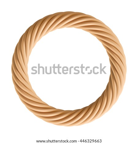 3D Rendering of brown color Circle Rope, isolated object on white background. - stock photo