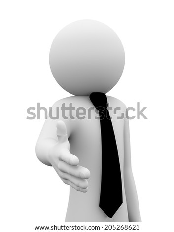 3d rendering of business person offering hand for shake and deal. 3d white people man character - stock photo