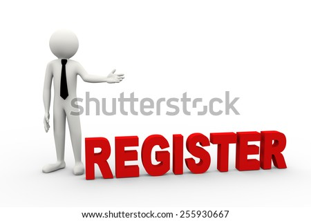 3d rendering of business person presentation of register word. 3d white people man character - stock photo