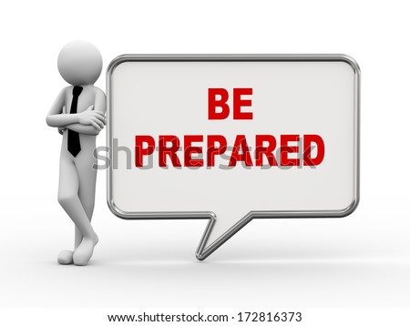 3d rendering of business person standing with be prepared bubble speech. 3d white people man character - stock photo
