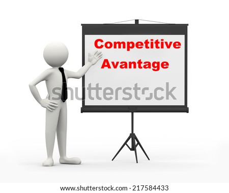 3d rendering of business person with tripod projector screen presenting concept of competitive advantage. 3d white people man character - stock photo