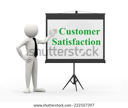 3d rendering of business person with tripod projector screen presenting concept of customer satisfaction. 3d white people man character - stock photo