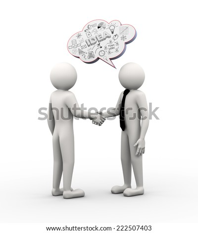 3d rendering of businessman handshake and bubble speech of business hand drawn drawing sketch. 3d white people man character - stock photo