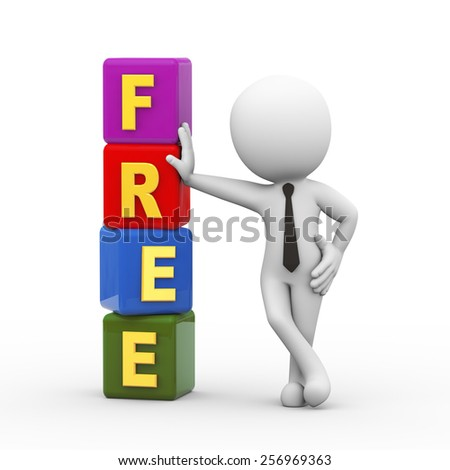 3d rendering of businessman standing with free cubes.  3d white person people man - stock photo