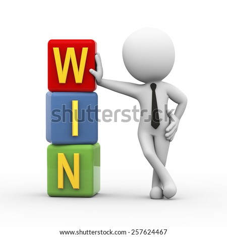 3d rendering of businessman standing with win cubes.  3d white person people man - stock photo
