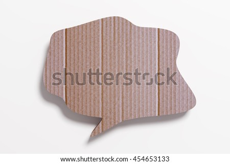 3D rendering of cardboard speech bubble on white background.Isolated. - stock photo