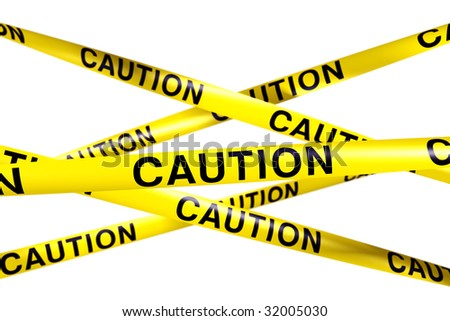 3d rendering of CAUTION tape. - stock photo