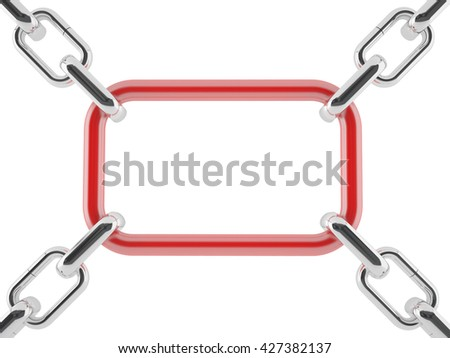 3D rendering of chrome chains with a square red link - stock photo