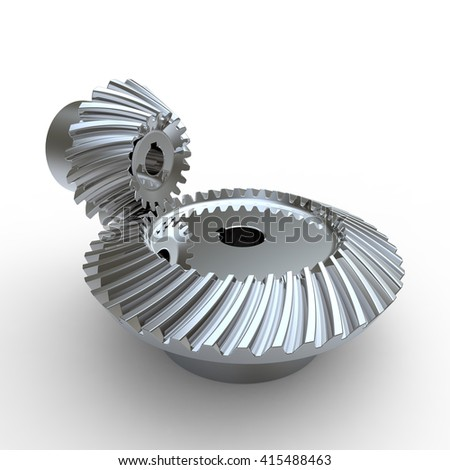 3D rendering of chrome silver steel crown and pinion spiral bevel gears on a white background - stock photo