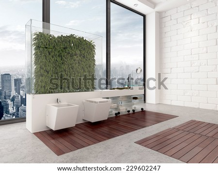 3D Rendering of Clever interior bathroom design utilizing plants in a glass enclosure to create a wall effect in front of a floor-to-ceiling window overlooking a city to mount the vanity units - stock photo
