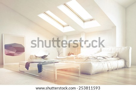 3D Rendering of Close up Architectural Bedroom with Glass Table and White Furniture Illuminated with Sunlight from Glass Ceiling. - stock photo