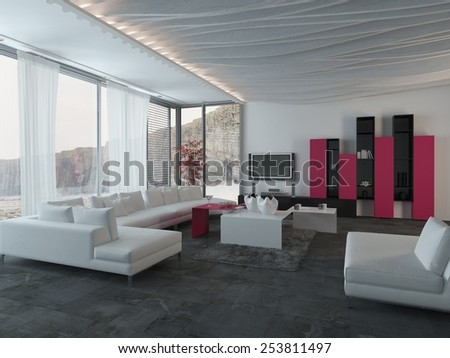 3D Rendering of Close up Attractive Architectural Living Room Design with White, Black and Dark Pink Furniture. - stock photo