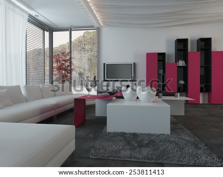 3D Rendering of Close up Full Furnished Architectural Living Room Design with Dark Pink and White Furniture. - stock photo