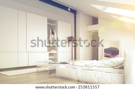 3D Rendering of Close up Illuminated Architectural White Bedroom Design with Elegant White Furniture - stock photo
