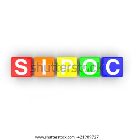 3D rendering of colored blocks with letters that spell the business acronym for Supplier, Input, Process, Output and Customer on a white background. - stock photo