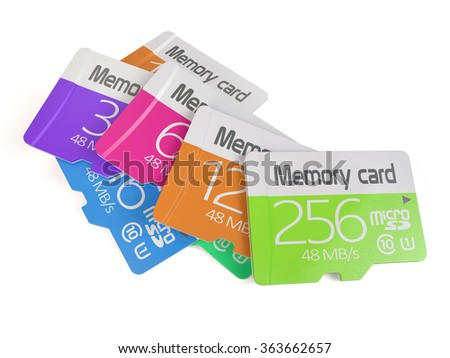 3d rendering of colorful memory micro sd card heap. Isolated on white background - stock photo