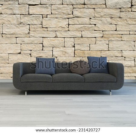 3D Rendering of Comfortable grey upholstered sofa with cushions standing on a grey parquet floor against a textured rough stone wall - stock photo