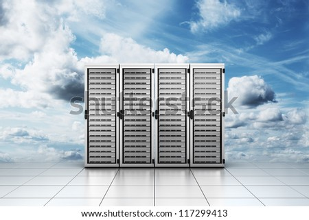 "3d rendering of computer server in the clouds symbolizing ""cloud computing"" - stock photo"