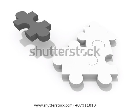 3d rendering of concept illustration: lonely black one piece of puzzle is moving away from the others white three - stock photo