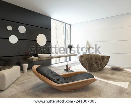 3D Rendering of Contemporary design in a luxury bathroom interior with a comfortable wooden recliner chair, ottoman, marble patterned oval tub hand black accent wall with a wall mounted and basin - stock photo
