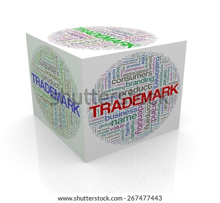 3d rendering of cube box of word tags wordcloud  of trademark - stock photo