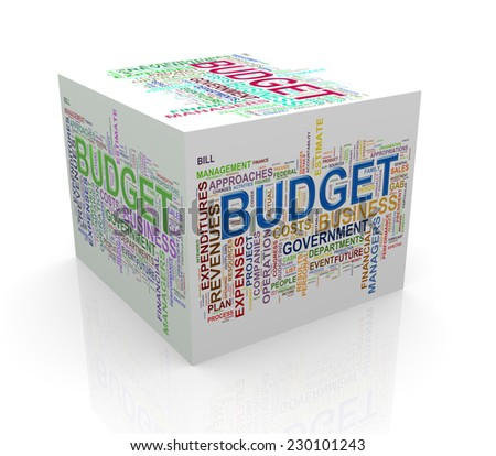 3d rendering of cube box of wordcloud word tags of budget - stock photo