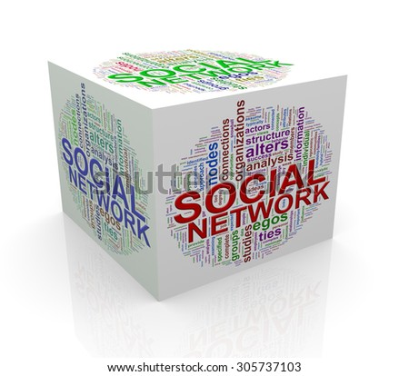 3d rendering of cube box of wordcloud word tags of social network - stock photo