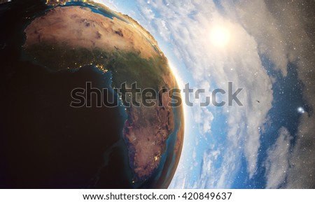 3D rendering of detailed colorful Earth,  highly detailed planet earth in the evening, sunrise in africa, Elements of this image furnished by NASA - stock photo
