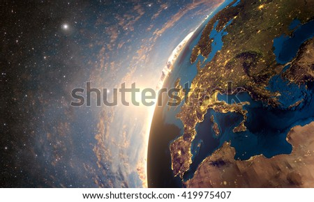 3D rendering of detailed colorful Earth,  highly detailed planet earth in the morning  Elements of this image furnished by NASA - stock photo