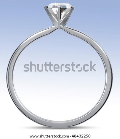 3d rendering of diamond ring - stock photo